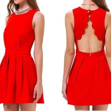 Elegant Women Sexy Open Back Dresses Short Solid Ladies Summer Party Vestidoes Red [7955557319]