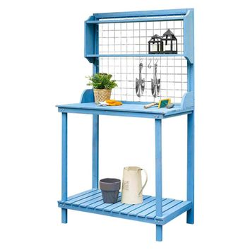 Coral Coast Potting Bench with Hanging Grate - Blue Stain | www.hayneedle.com