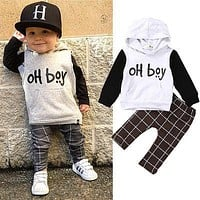 Toddler Baby Boy Long Sleeve T-shirt Tops+Pants Outfits 2pcs Hooded Clothes Set children's wear