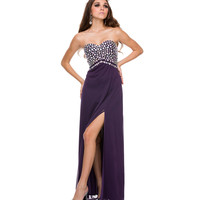 Plum Chiffon & Beaded Strapless Gown
