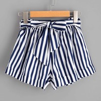 Striped Self Tie Waist Shorts