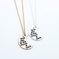 I love you, moon necklace