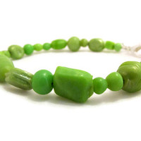 Green beaded bracelet, spring green ceramic bead simple bracelet , silver plated , uk seller