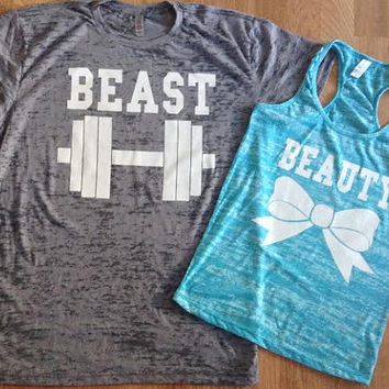 Free/Fast Shipping for US Beauty And The Beast Burn Out Tee and Tank.Gray and Tahiti Blue(White  Decal)