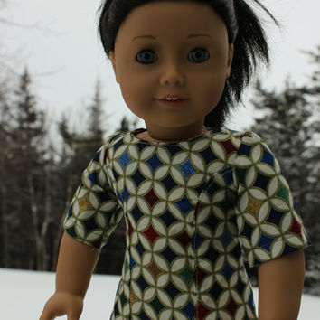 18 inch doll clothes, Ascot dress, stained glass print,ivory, blue, green dress,  american girl, Maplelea