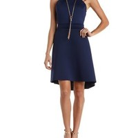 Navy Caged-Back Strappy High-Low Skater Dress by Charlotte Russe