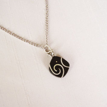 Round Pendant in Ebony and Sterling Silver, silver plated chain - Contemporary Jewelry - Delicate Pendant - Original Jewelry - Wood Pendant