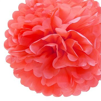 """BLOWOUT EZ-Fluff 8"""" Roseate Tissue Paper Pom Pom Flowers, Hanging Decorations (4 PACK)"""