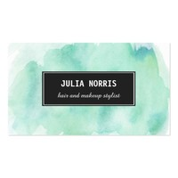 Mint Watercolor Business Card
