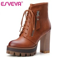 ESVEVA 2016 Lace Up Western Style Women Boots Platform PU Autumn Shoes Thick High Heel Winter Shoes Lady Ankle Boots Size 34-42