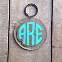 Two color monogrammed keychain