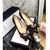 Gucci Women's Leather Fashion High-heeled Sneakers Shoes