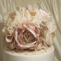 Made to Order Shabby & Romantic Vintage Style Cake Topper, will be made similar to the one pictured. Embellished with rhinestones pearls