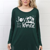 Joy to the World Long Sleeve Tunic {Deep Green}