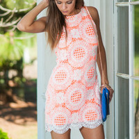 Awe Around Us Dress, Neon Orange