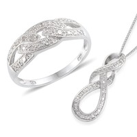 Sterling Silver Set, Diamond Ring and Pendant