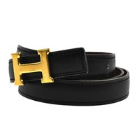 Authentic HERMES Constance Reversible H Logos Buckle Belt Black Gold #M T02286