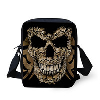 FORUDESIGNS Skull Leisure Messenger Bag for Men Black Single Shoulder Bags for Kids Boys Children Cartoon Crossbody Bags Satchel