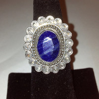 Raw Sapphire Sterling Ring 925 Silver Size 7 Blue Natural Stone Vintage Southwestern Jewelry Cocktail Birthday Christmas Gift Xmas