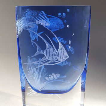 Coral Delight, hand engraved vase