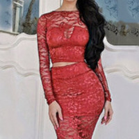 Sexy Two Piece Lace Floral Crop Top Elastic Waist Pencil Skirt Bodycon Dress Set Red