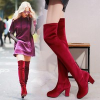Women Heels Shoes Fashion Stretch Round-toe Zip Rough Heel Knee-high Boots