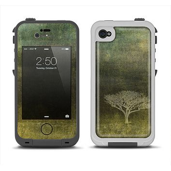 The Deep Green Tree Pastel Painting Apple iPhone 4-4s LifeProof Fre Case Skin Set