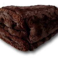 Tache Dark Chocolate Brown Polar Faux Fur with Sherpa Throw Blanket 50 x 60