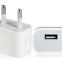 EU Plug USB AC/DC Power Adapter for iPhone 6 (White)