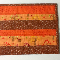 Quilted Autumn Mug Rug, Fall Candle Mat, Thanksgiving Mug Rug, Quiltsy Handmade