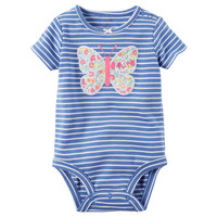 Baby Girl Carter's Striped Embroidered Applique Bodysuit