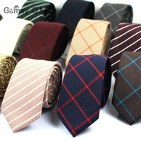 Classic 100% Cotton Mens Ties New Design Narrow Neckties 6cm Slim Plaid Ties for Men Formal Business Wedding Party Gravatas
