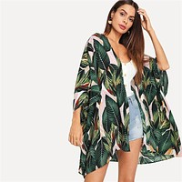Multicolor Tropical Jungle Leaf Print Batwing Sleeve Kimono Women Summer Sleeve Vacation Longline Beach Blouses