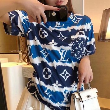 Louis Vuitton LV summer short-sleeved female student loose t-shirt hit color printing and dyeing irregular bottoming shirt