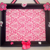 bow holder organizer board bulletin board playroom children decor wall hanging custom personalized upcycle frame chicken wire damask paisley