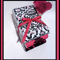 Baby Girl Burp Cloth Set In Hot Pink, Black and White - 6 PLY Cloth Diaper Burps