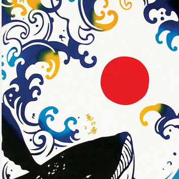 Japanese Tenugui Towel Fabric, Red Sun & Whale Animal, Hand Dyed Fabric, Art Design, Cotton 100%, Wall Art Hanging, Gift Wrapping - k011
