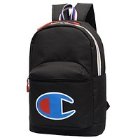 Champion Tide brand embroidery big standard men and women leisure sports travel backpack black