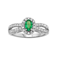 The Regal Collection Emerald & 1/2 Carat T.W. IGL Certified Diamond 14k White Gold Tiered Oval Halo Ring (Green)