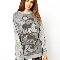 ASOS Sweatshirt in Monochrome Mickey Mouse Holidays Print - Gray