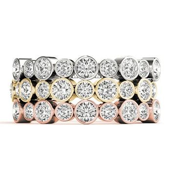 Stackables 1/2 Eternity Tri-Tone Gold Full Bezel Round Diamonds 3-Band Set Selectables
