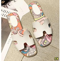 Hermes Summer Popular Women Classic H Letter Slipper Sandals Shoes 5#