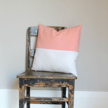Blush & White color block pillow cover, white cushion cover, industrial decor, peach two tone pillow cover, lumber pillow, pink