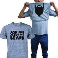 Ask Me About My Beard Shirts Funny Flip Up T-shirt Halloween Graphic Unisex Tees