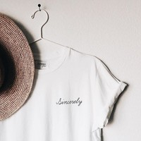 Sincerely New Fashion Summer Women Cotton TShirt Short Sleeve Round neck Casual White T-shirts shirt tops for lady tees female
