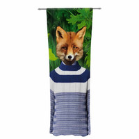 "Natt ""Into The Leaves N7"" Green Fox Decorative Sheer Curtain"