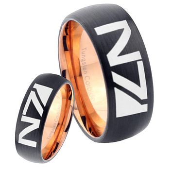 His Hers N7 Designs Dome Tungsten Rose Gold Mens Wedding Band Set