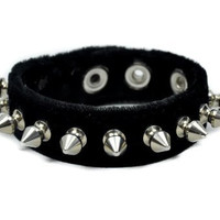 "Black Gothic Velvet Wristband with 1/2"" Silver Spikes"