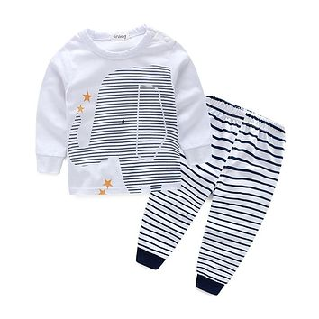 baby boy clothes and girl clothes Elephant printed t-shirt+ striped pants
