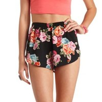 Floral Print High-Waisted Dolphin Shorts - Black Combo